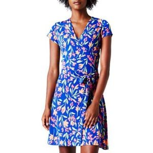 LEOTA BLUE CAP SLEEVE PERFECT WRAP DRESS